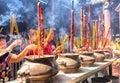 Pilgrims copper incense burner temple in spring Royalty Free Stock Photo