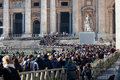 Pilgrims crowd lined entrance to st peter square crowded with and faithful up towards the of the basilica of in rome vatican city Royalty Free Stock Photo