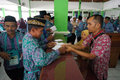 Pilgrims entered the hostel before departure to saudi arabia in boyolali central java indonesia Stock Image