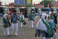 Pilgrims from indonesia arriving at embarkation boyolali before boarding a plane to leave for saudi arabia hajj is an annual Royalty Free Stock Photography