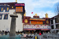 Pilgrims and jokhang at the last day of chinese traditional year are waiting outside the to see the budda pray best wishes of new Royalty Free Stock Photography