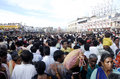 Pilgrims at rath yatra people from all over the india and world visit puri the time of chariot festival Stock Photo