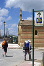 Pilgrims on the saint james way in spain la rioja province city santo domingo de calzada an important place camino de santiago de Stock Photography