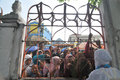 Pilgrims say goodbye to family relatives over the fence at hajj dormitory boyolali central java indonesia began leave Stock Image