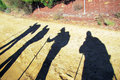 Pilgrims shadows the of along the historic pilgrimage way to santiago de compostela in spain Stock Photo