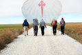 Pilgrims and shell along the pilgrimage way to santiago de compostela in spain Royalty Free Stock Photography