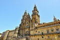 Pilgrims visit the cathedral of santiago de compostela in spain Stock Photo