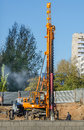 Piling machine a powerful works vehicle on construction site Stock Image