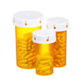 Pill bottles isolated on white background american three medical containers Stock Photography