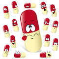 Pill cartoon Stock Images