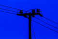 Pillar for electricity line on twilight time Royalty Free Stock Photo