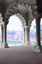 Pillar gallery in agra fort uttar pradesh india under the roof of Stock Photo