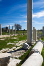 Pillars agora ancient city side antalya turkey Royalty Free Stock Images