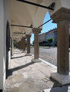 Pillars of levoca s townhall arcade summer view portraying historic located at medieval town in spis region north eastern slovakia Stock Photography