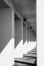 Pillars lined up towards infinity in black and white Royalty Free Stock Photo