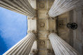 Pillars of the Surpreme Court Building in Washington, DC. Royalty Free Stock Photo