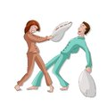 Pillow battle cvector image of cartoon funny Stock Photography