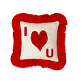 Pillow or cushion with i love you red and white Royalty Free Stock Photos