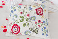 Pillow embroidered beautiful and clean to use Royalty Free Stock Images
