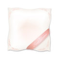 Pillow isolated on white background with ribbon for typing sweet dreams concept illustration natural down label pink vector Royalty Free Stock Images