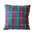 Pillow scottish tartan isolated included clipping path Stock Photography