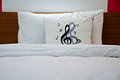Pillows with music notes Stock Photos