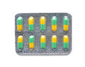 Pills in a blister pack isolated on white Royalty Free Stock Image