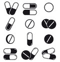 Pills and capsules icon set Stock Images