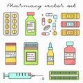 Pills drugs medicine thin line vector set