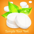 Pills natural on yellow round background vector illustration Stock Photography