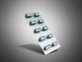 Pills Package Blister 3D illustration on grey