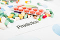 Pills sales prediction concept with printed graphs and bunch of Stock Image