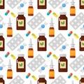 Pills seamless pattern vector illustration.