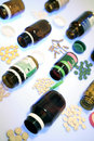 Pills spilling from bottles Royalty Free Stock Photos
