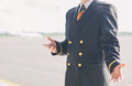 Pilot on the airfield place for your text Royalty Free Stock Photography