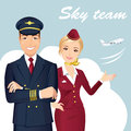 Pilot and Flight attendant of Commercial Airlines with the airplane on the background.