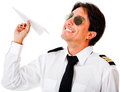 Pilot with a paper airplane Stock Photography