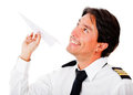 Pilot with a paper airplane Stock Images