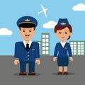 Pilot and stewardess in uniform.