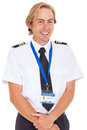 Pilot wearing uniform cheerful with epaulettes isolated on white Stock Photography