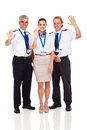 Pilots airhostess waving cheerful airline and on white background Royalty Free Stock Photo