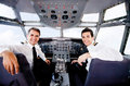 Pilots in an airplane cabin Royalty Free Stock Photo