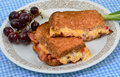 Pimento cheese spread toast fried bacon served scallion grapes Royalty Free Stock Image
