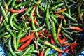 Pimienta en cesta en mercado Fotos de archivo libres de regalías