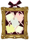 Pin Board in Gold Frame Royalty Free Stock Photo