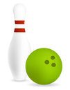 Pin with bowling ball green Stock Image