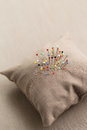 Pin cushion with multi coloured pins in it Royalty Free Stock Images