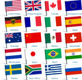 Pin flags popular vector illustration of from countries Stock Photography