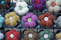 Pin flowers made from a yarn Royalty Free Stock Images