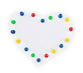 Pin heart on paper isolated white background Stock Images